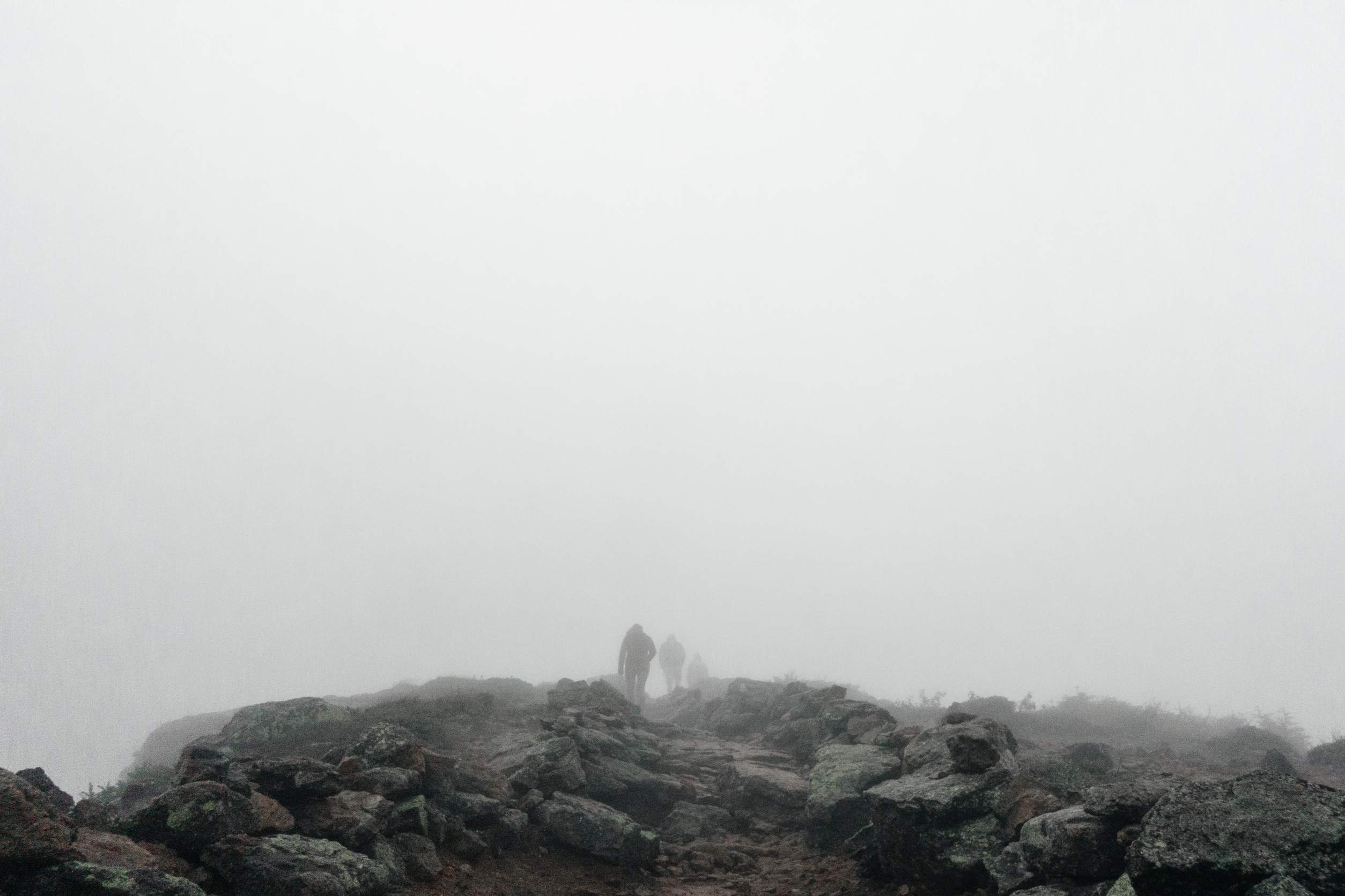 foggy hiking