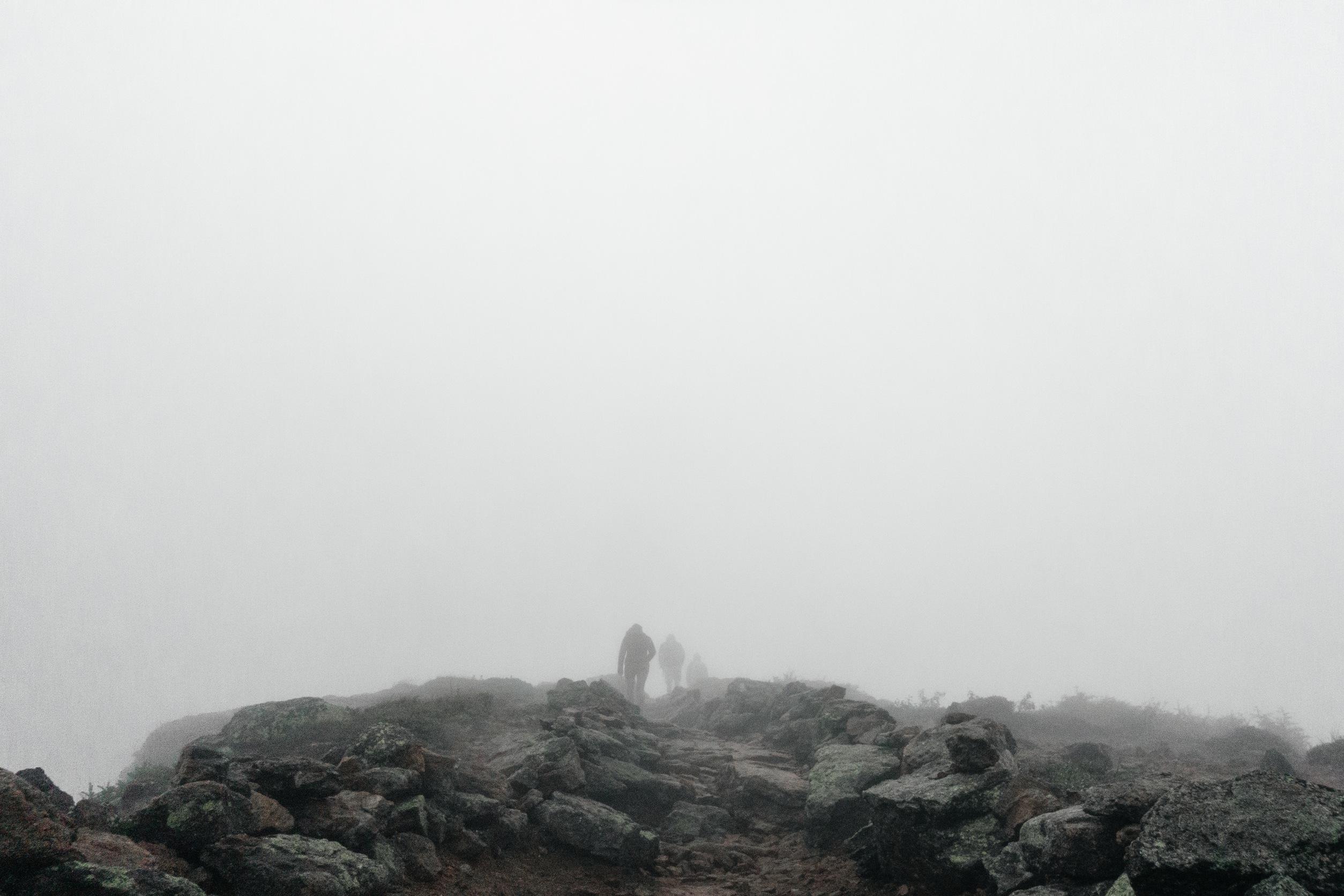 foggy hiking