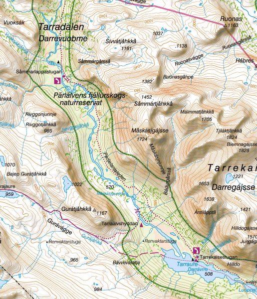 Karta Padjelantaleden: Sommarlappa Tarrekaise